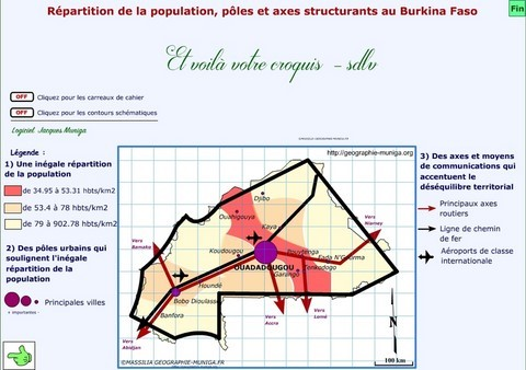 Répartition de la population, pôles et axes structurants au Burkina Faso - Jacques MUNIGA