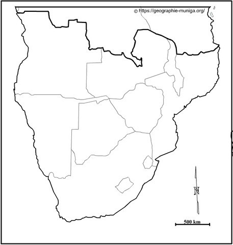 Carte Afrique australe - Jacques MUNIGA